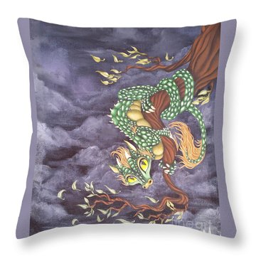 Tree Dragon Throw Pillow