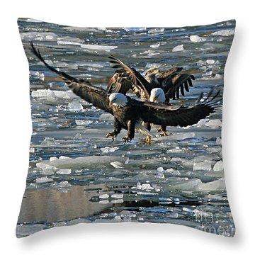 Tree Eagles On Ice Throw Pillow