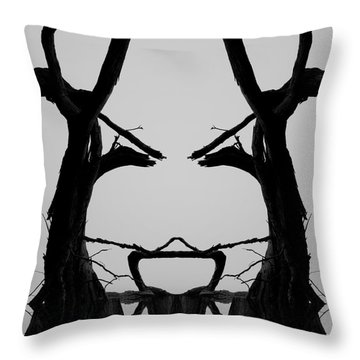 Tree Face I Bw Sq Throw Pillow