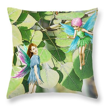 Tree Fairies Among The Quaking Aspen Leaves Throw Pillow