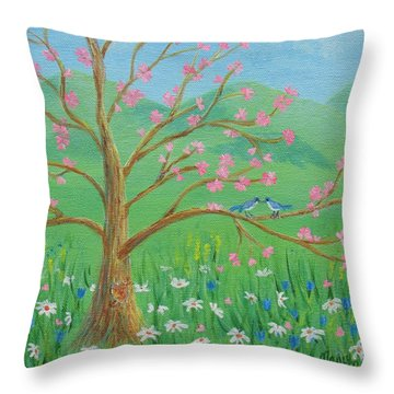 Throw Pillow featuring the painting Tree For Two by Nancy Nale