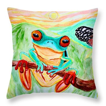 Tree Frog And Butterfly Throw Pillow by Nick Gustafson