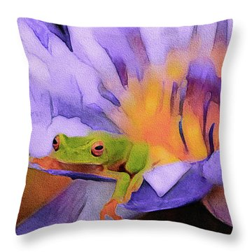 Throw Pillow featuring the mixed media Tree Frog In Repose by Susan Maxwell Schmidt