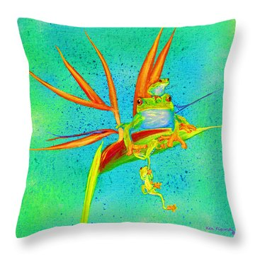 Tree Frog On Birds Of Paradise Square Throw Pillow