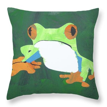 Throw Pillow featuring the painting Tree Frog by Candace Shrope