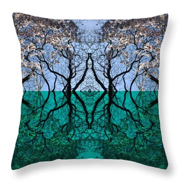 Tree Gate Between Water And Sky Worlds Throw Pillow