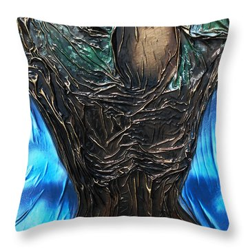 Throw Pillow featuring the mixed media Tree Goddess by Angela Stout