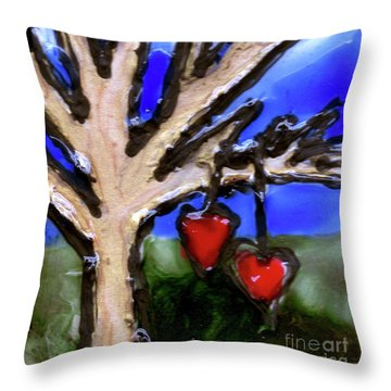 Throw Pillow featuring the painting Tree Hearts by Genevieve Esson