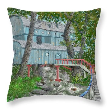 Tree House Digital Version Throw Pillow