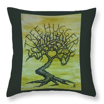 Throw Pillow featuring the drawing Tree Hugger Love Tree by Aaron Bombalicki
