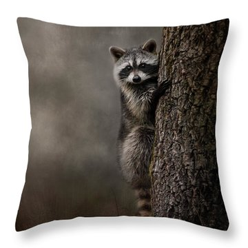 Tree Hugger Raccoon Art Throw Pillow