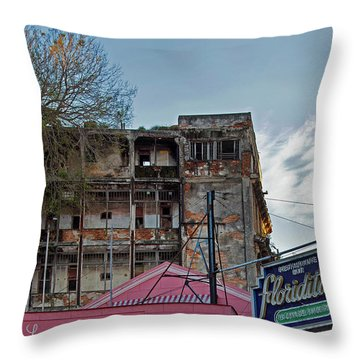 Throw Pillow featuring the photograph Tree In Building Over La Floridita Havana Cuba by Charles Harden