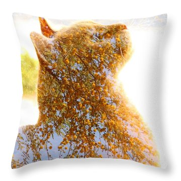 Tree In Cat Throw Pillow