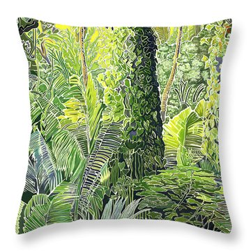 Tree In Garden Throw Pillow by Fay Biegun - Printscapes