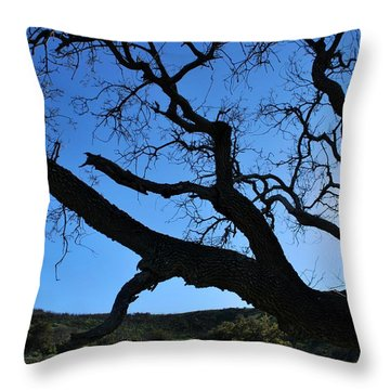 Tree In Rural Hills - Silhouette View Throw Pillow