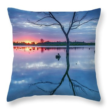 Tree In Silhouette Throw Pillow by Jae Mishra