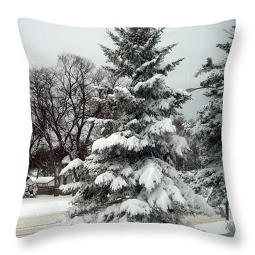 Tree In Snow Throw Pillow
