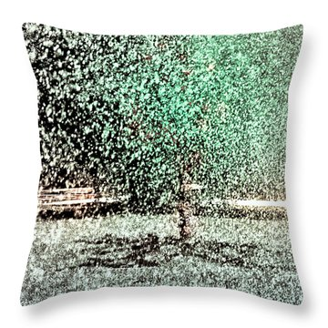 Throw Pillow featuring the photograph Tree In Sprinkler - Painted by Dave Beckerman