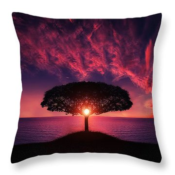 Tree In Sunset Throw Pillow by Bess Hamiti