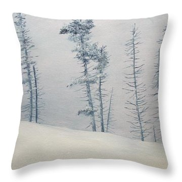 Throw Pillow featuring the painting Tree Line by Ken Ahlering
