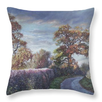 Throw Pillow featuring the painting Tree Lined Countryside Road by Martin Davey