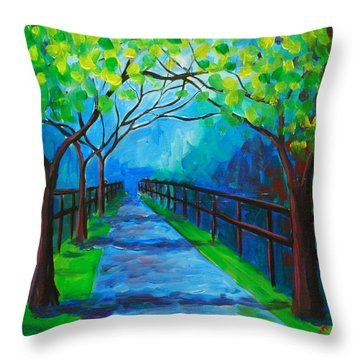 Tree Lined Fence Throw Pillow
