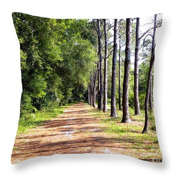 Tree Lined Path Throw Pillow