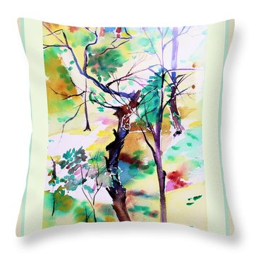 Throw Pillow featuring the painting Tree Lovers by Mindy Newman