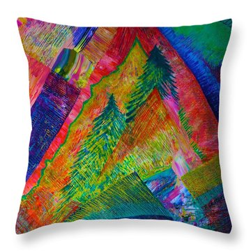 Throw Pillow featuring the painting A Tree Motif by Polly Castor