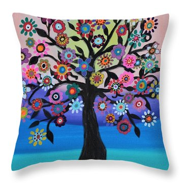 Throw Pillow featuring the painting Blooming Tree Of Life by Pristine Cartera Turkus