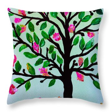 Throw Pillow featuring the painting Tree Of Essence by Pristine Cartera Turkus