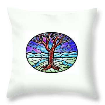 Tree Of Grace - Winter Throw Pillow