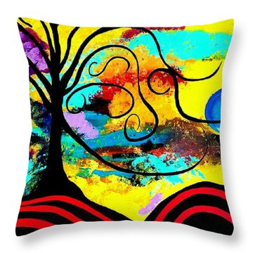 Tree Of Life Abstract Painting  Throw Pillow