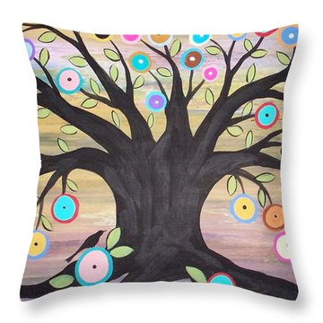 Tree Of Life And Bird Throw Pillow by Karla Gerard