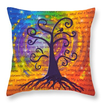 Tree Of Life And Positive Affirmations Throw Pillow