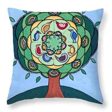 Throw Pillow featuring the painting Tree Of Life by Caroline Sainis