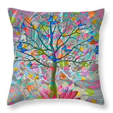 Throw Pillow featuring the digital art Tree Of Life by Eleni Mac Synodinos