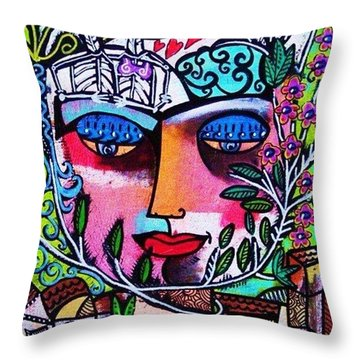 Tree Of Life Face Throw Pillow by Sandra Silberzweig
