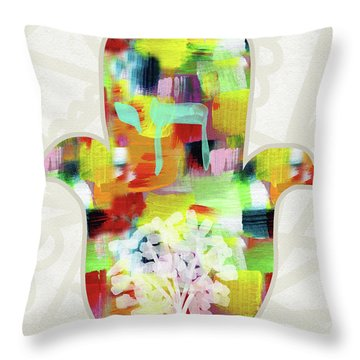 Tree Of Life Hamsa- Art By Linda Woods Throw Pillow