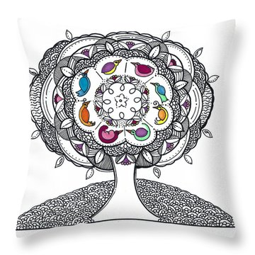 Tree Of Life - Ink Drawing Throw Pillow