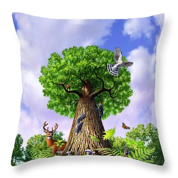 Tree Of Life Throw Pillow by Jerry LoFaro