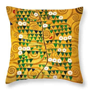 Tree Of Life Stoclet Frieze Throw Pillow by Gustav Klimt