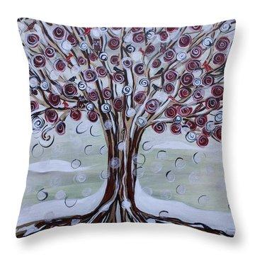 Tree Of Life - Winter Throw Pillow