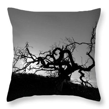 Tree Of Light Silhouette Hillside - Black And White  Throw Pillow