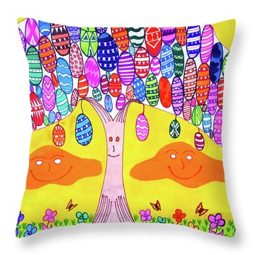 Tree Of The Easter Eggs Throw Pillow