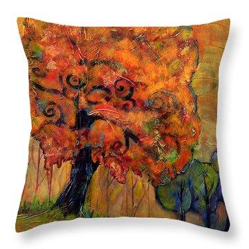 Tree Of Wisdom Throw Pillow by Blenda Studio
