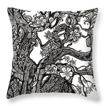 Tree On A Hillside Throw Pillow