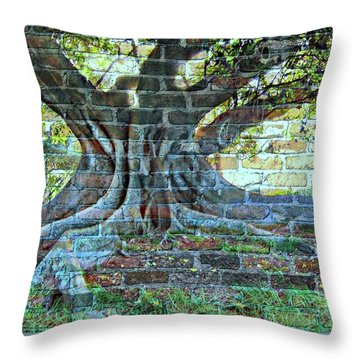 Tree On A Wall Throw Pillow by Leanne Seymour