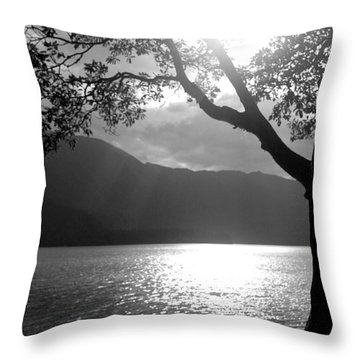 Tree On Lake Throw Pillow