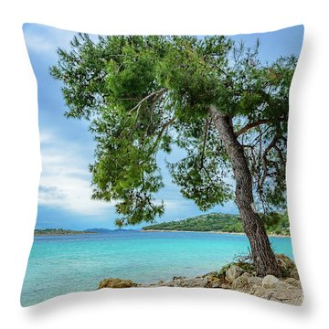 Tree On Northern Dalmatian Coast Beach, Croatia Throw Pillow